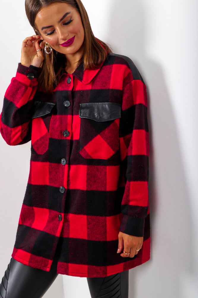 Check Yo Self - Red Black Oversized Shacket
