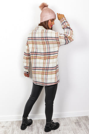 Checking You Out - Cream Blush Shacket