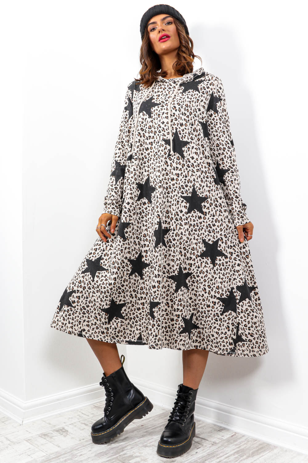Chill Vibes - Beige Leopard Star Print Hoodie Dress