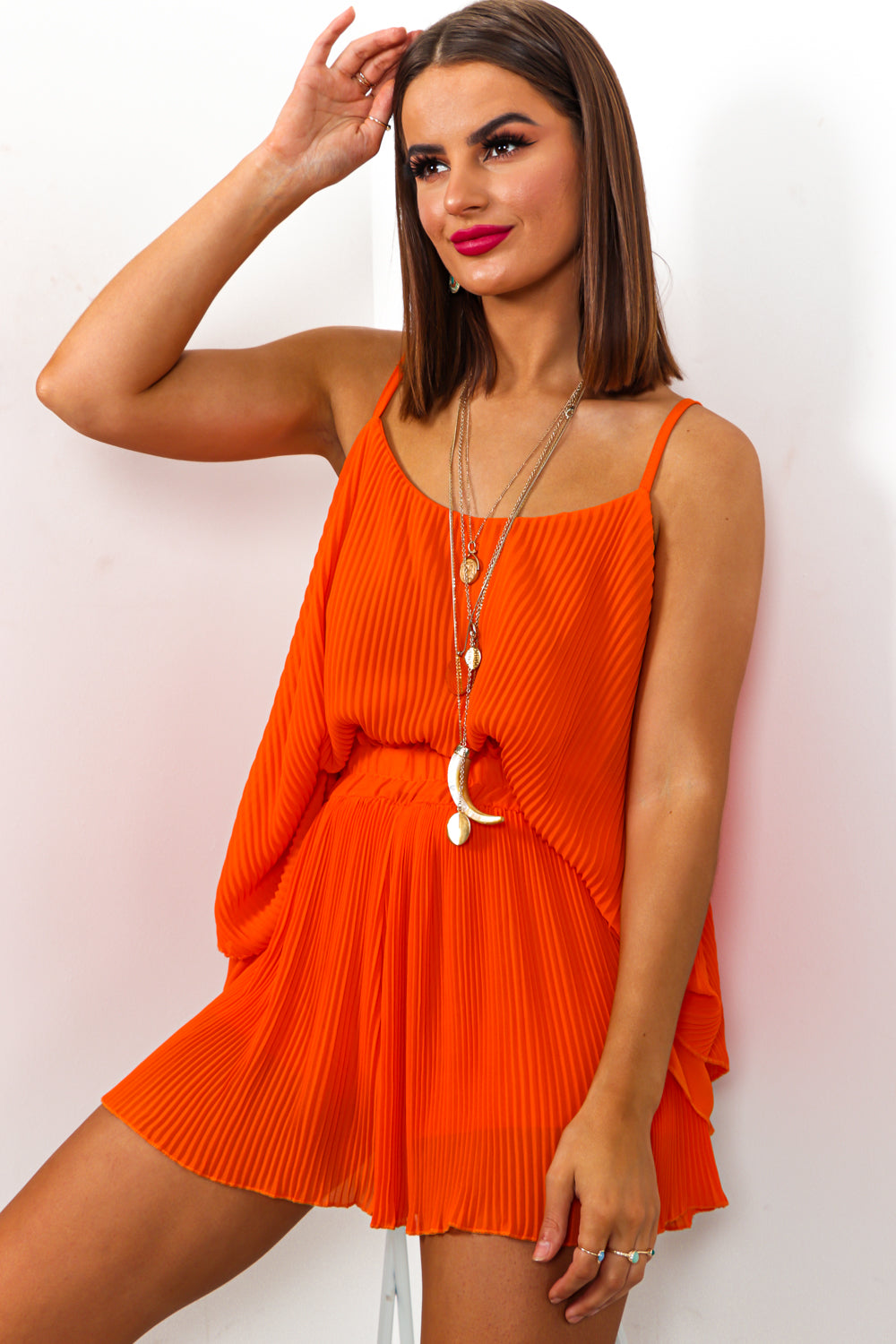 Orange Plisse Pleat Cami Top And Shorts Coordinate Set DLSB Womens Fashion