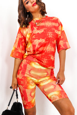 Orange Tie Dye Cycle Shorts And T-shirt Coordinate set DLSB Womens Fashion