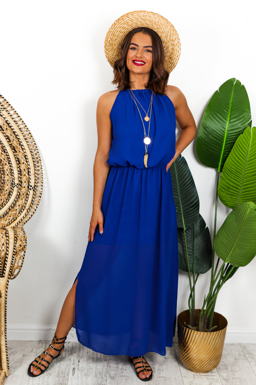 Cobalt Halter Neck Split Leg Maxi Dress DLSB Womens Fashion