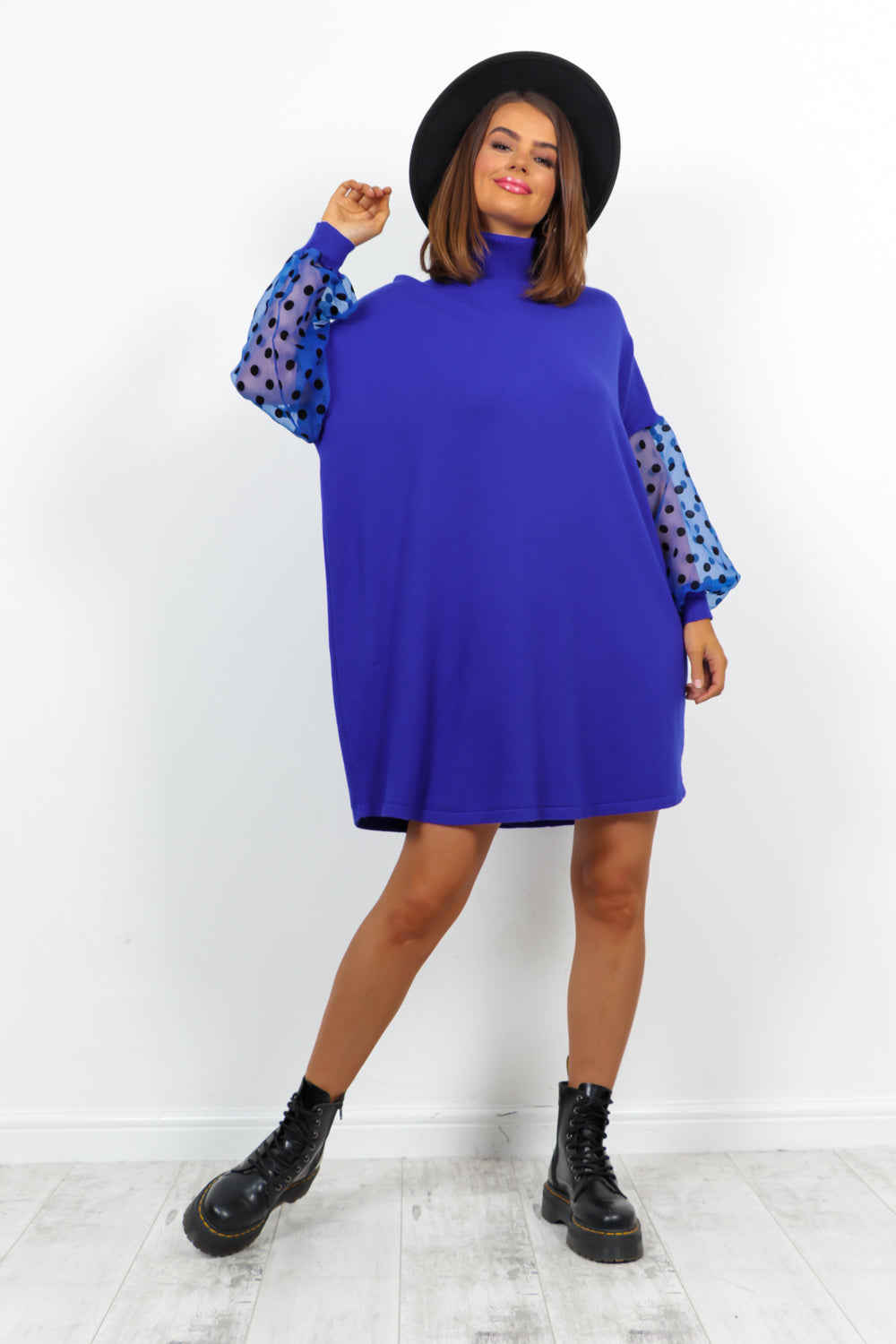 Cobalt Mesh Polka Dot Sleeve Roll Neck Knitted Dress