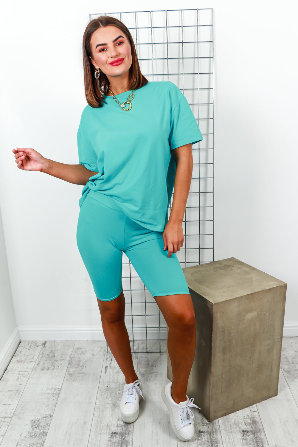 Co-ord Coordinate Set T-shirt Cycle Short Turquoise- DLSB Women's Fashion