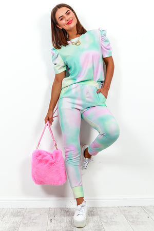 Co-ord Coordinate Set Puff Sleeve Top Joggers Tie Dye- DLSB Women's Fashion