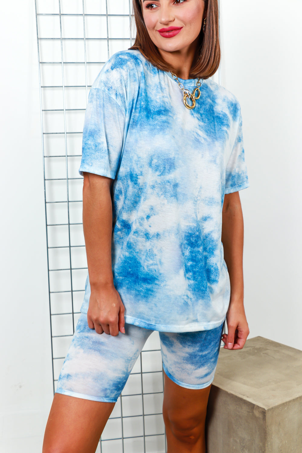 Co-ord Coordinate Set T-shirt Cycle Short Tie Dye- DLSB Women's Fashion