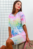 Co-ord Coordinate Set T-shirt Cycle Short Neon Tie Dye- DLSB Women's Fashion