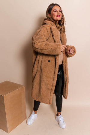 Cosy On Up - Teddy Coat In CAMEL