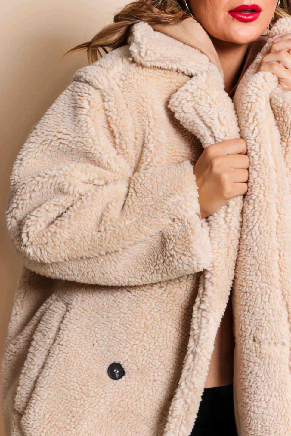 Cosy On Up - Teddy Coat In CREAM