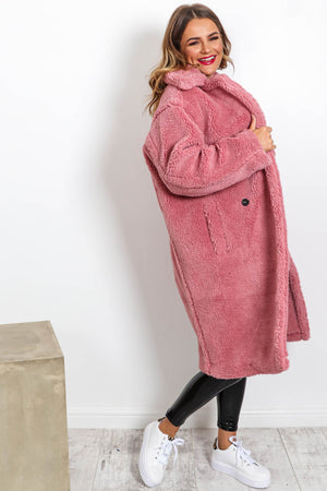 Cosy On Up - Teddy Coat In PINK