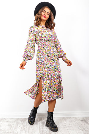 Counting Down The Flowers - Multi Floral Midi Dress