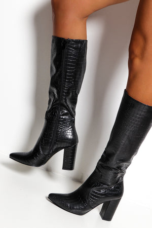 Croc Queen - Black Pointed Heeled Boot