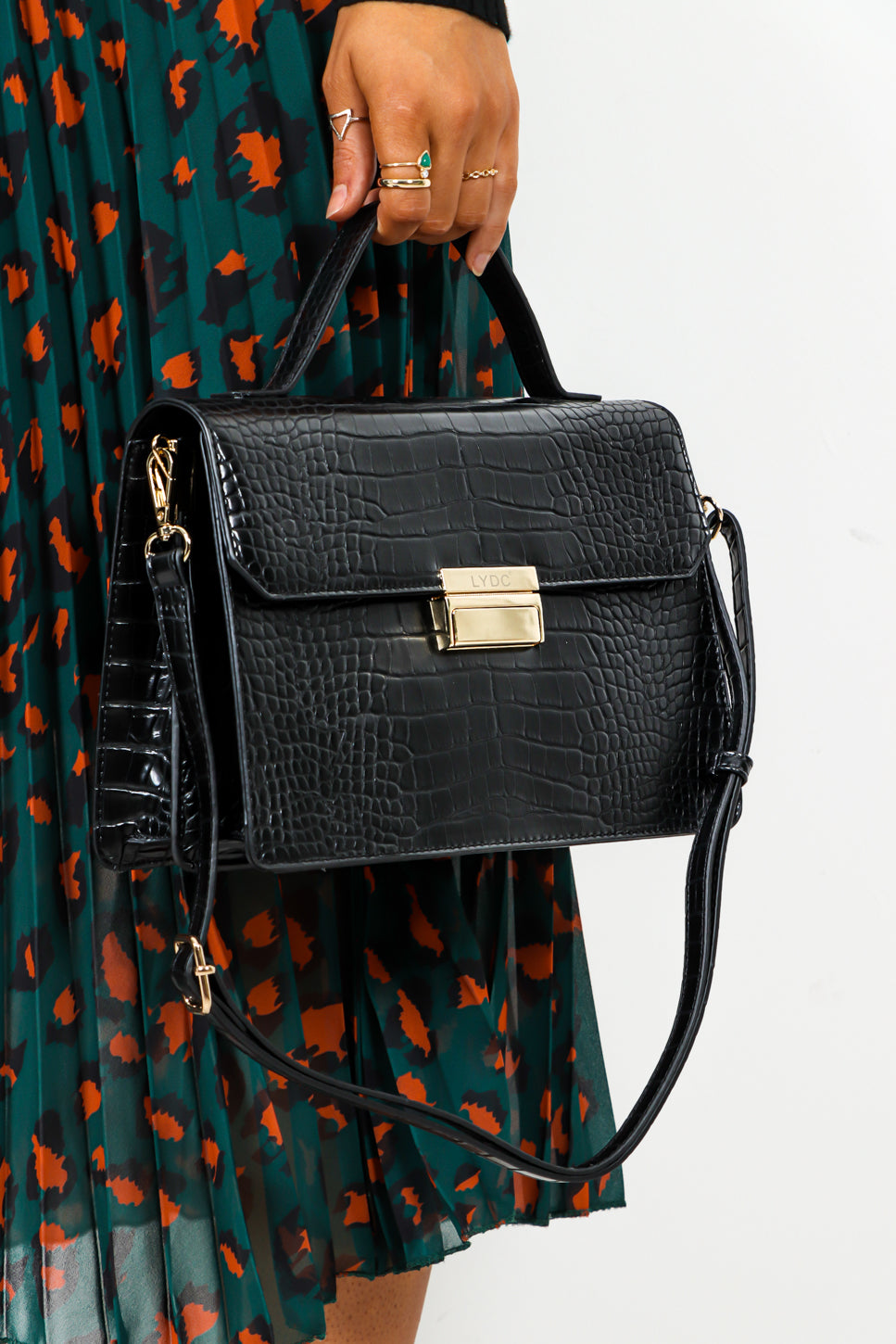 Croc Up - Black Gold Croc Bag