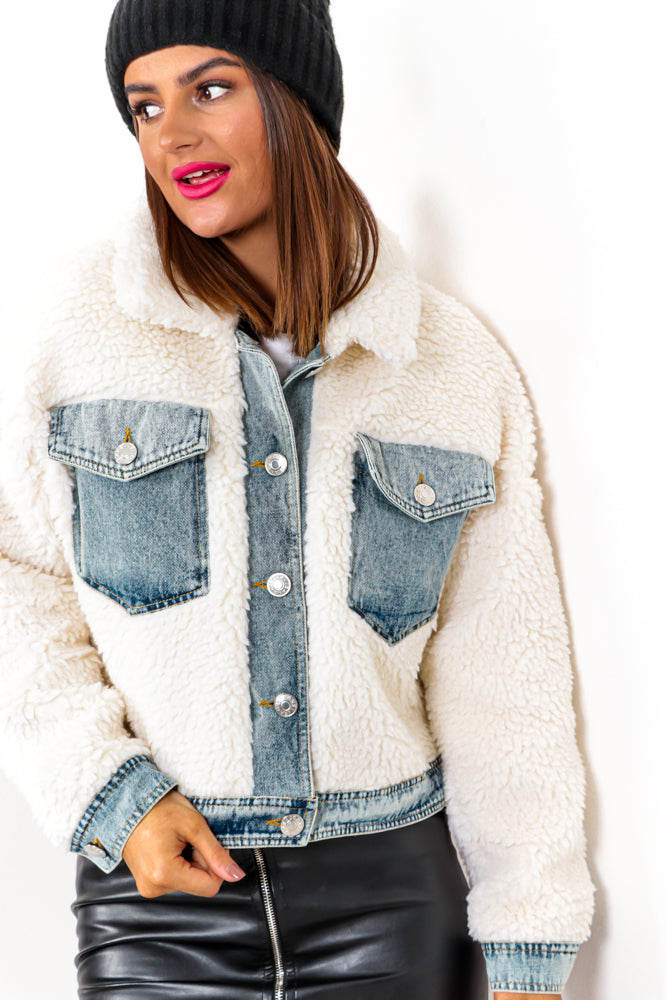 Crop It - Cream Denim Faux Fur Cropped Jacket