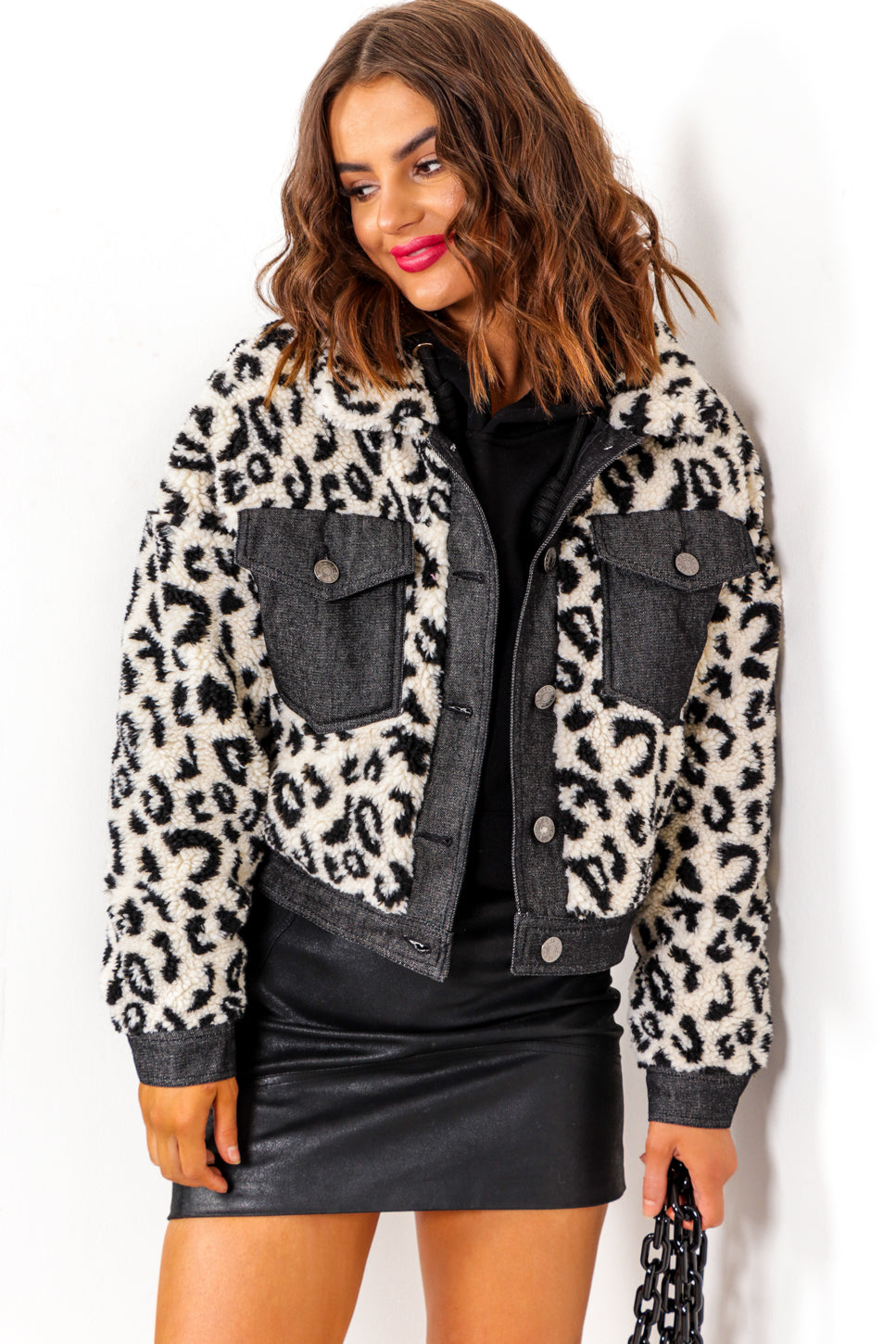 Crop It - Cream Leopard Print Faux Fur Cropped Jacket