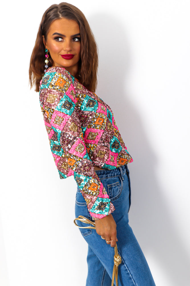 Crowd Pleaser - Gold Multi Coloured Sequin Top