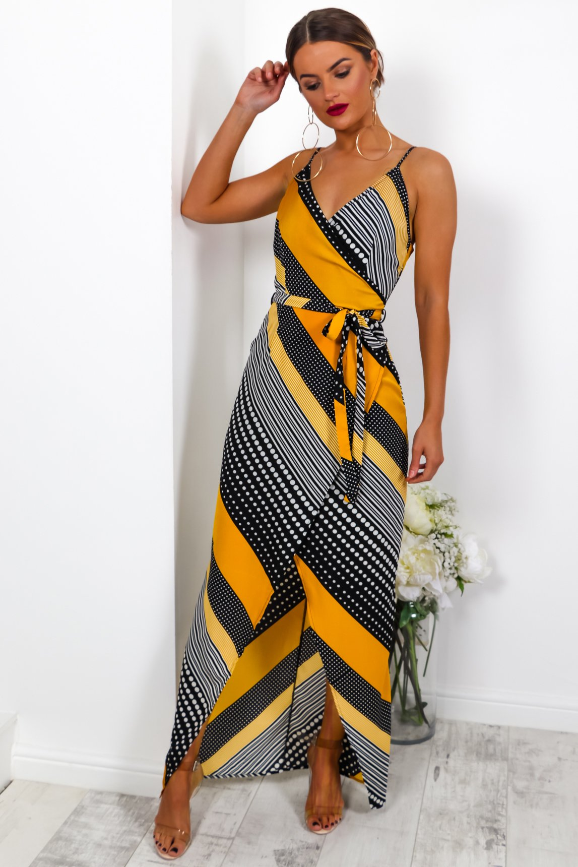 Show Stopper - Wrap Dress In BLACK/MUSTARD