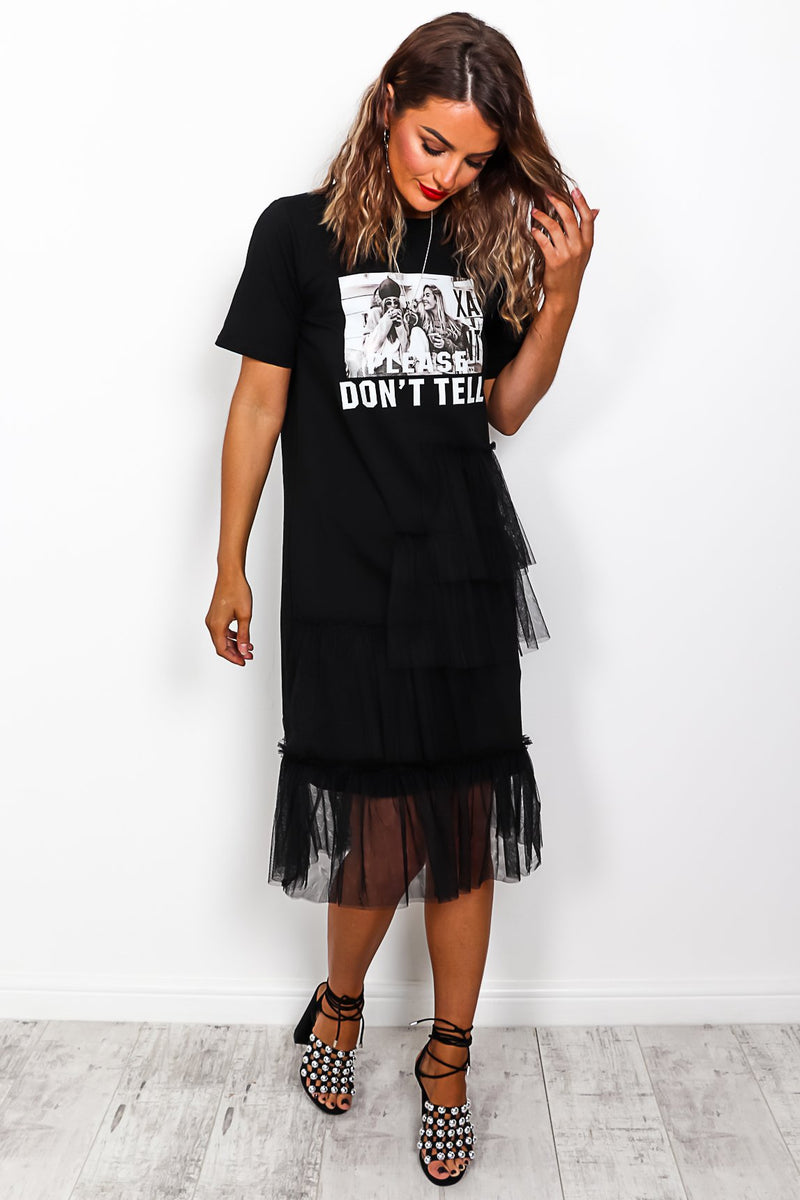 Please Don't Tell - Net Dress In BLACK/WHITE
