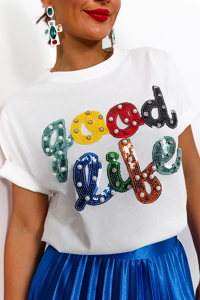 Good Life   T Shirt In White by Dlsb