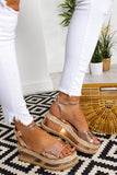 Summer Breeze - Flatform Sandals  In GOLD