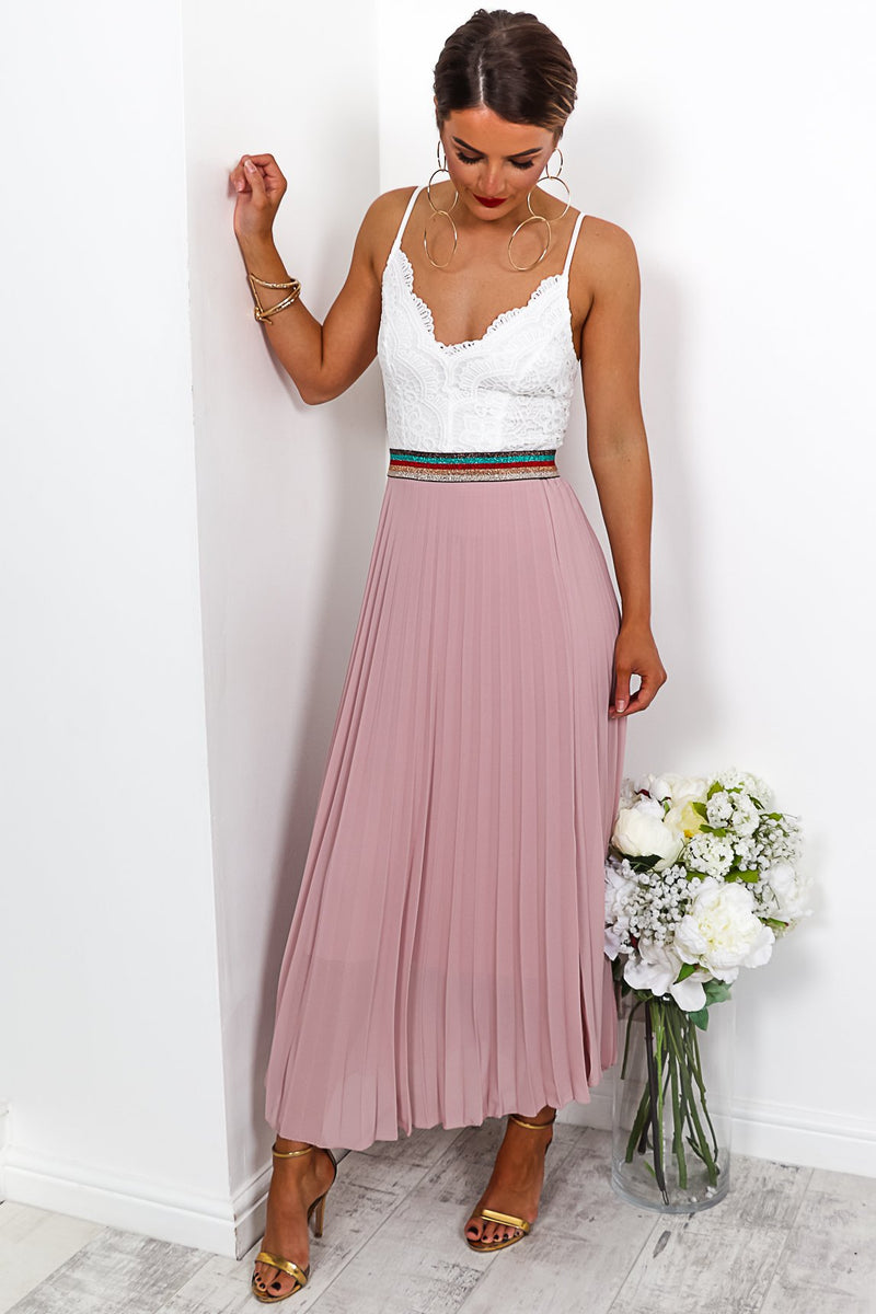 Lady Be Good- Midi Skirt In BLUSH
