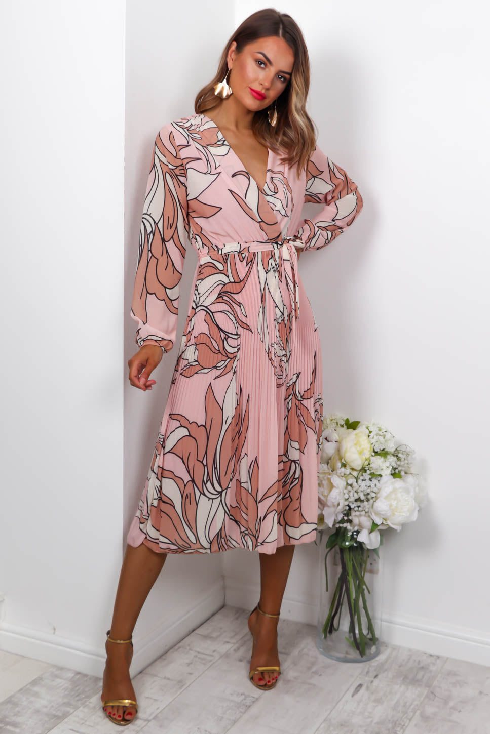 Flower Of Love - Midi Dress In PINK/BEIGE