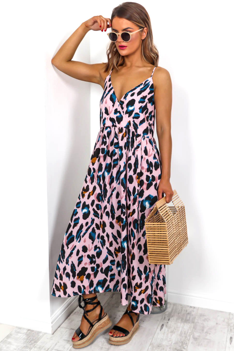 Holiday In The Sun - Pink Leopard Print Maxi Dress