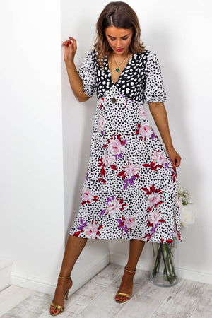 Rooting For You - Midi Dress In FLORAL/DALMATIAN