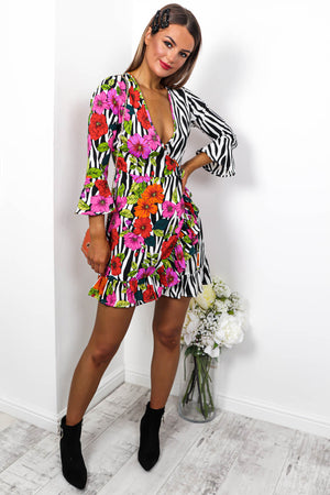 Remixed - Mini Dress In FLORAL/ZEBRA
