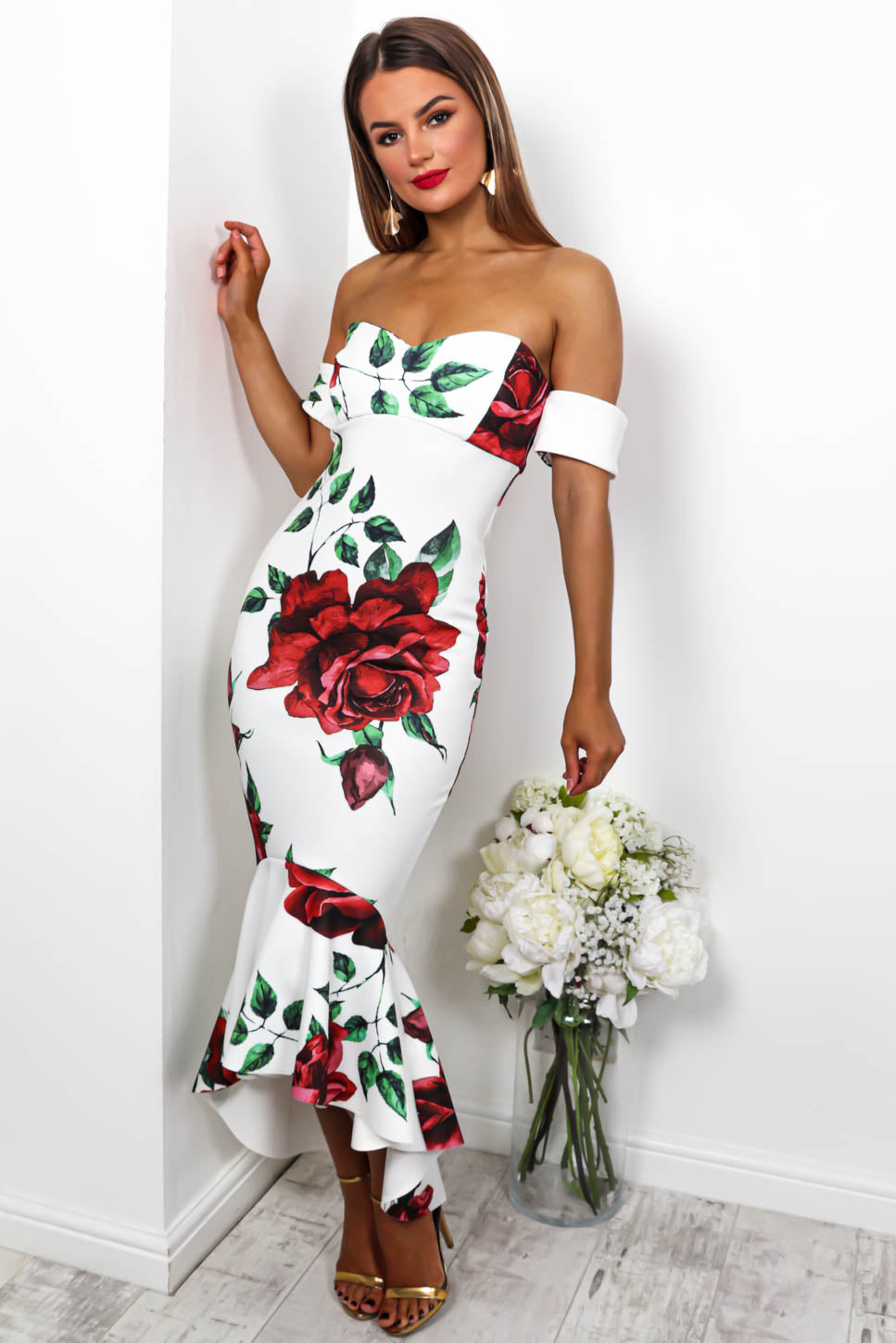 Rose To The Top - Maxi Dress In WHITE/FLORAL