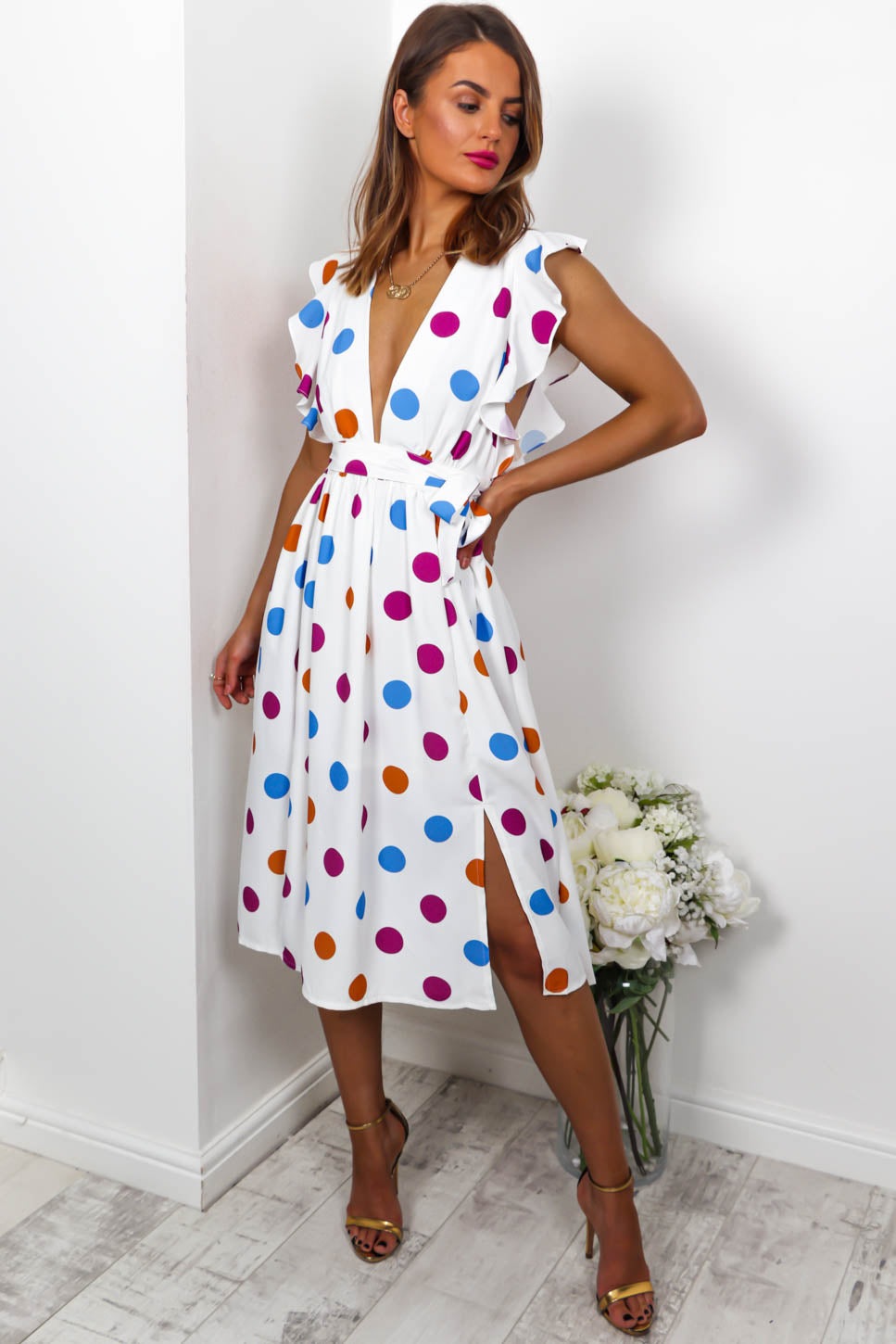 Swing Dance - Midi Dress In WHITE/SPOT