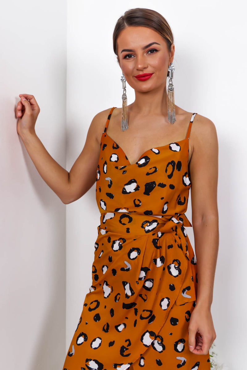 Drop The Act - Cami Top In RUST/LEOPARD