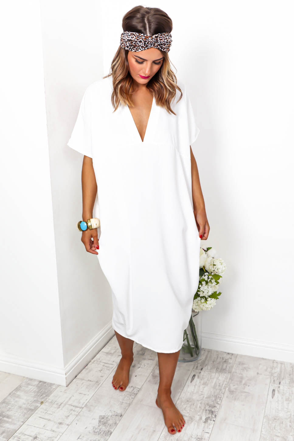 Beach To Their Own - Midi Dress In WHITE - DLSB