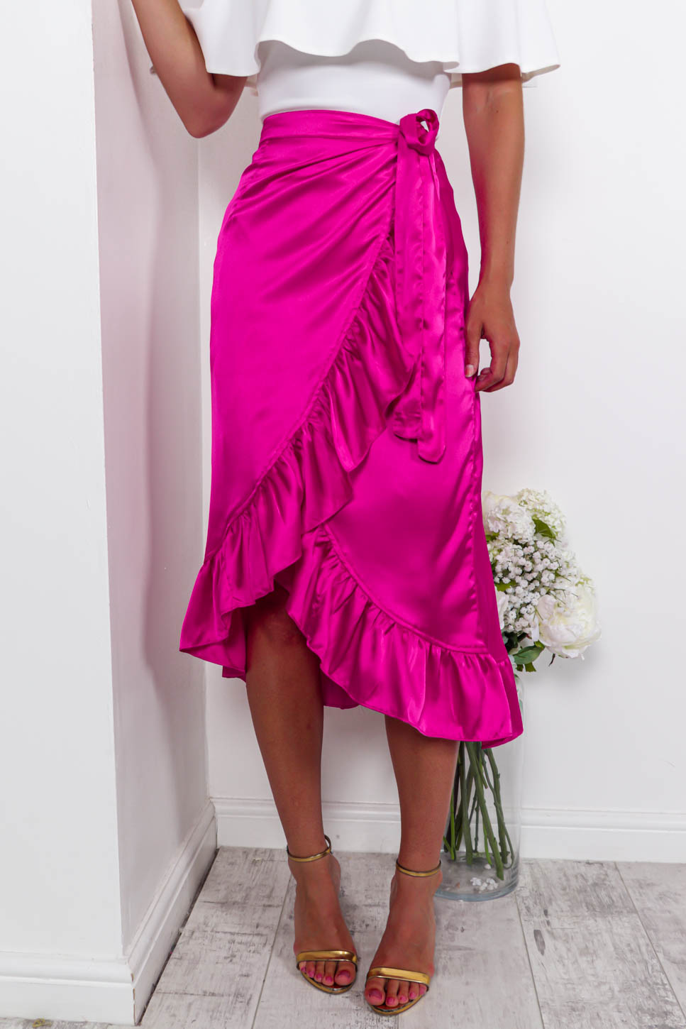 Thrilled For You - Wrap Skirt In HOTPINK