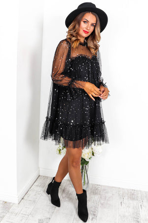 Enchanted Star - Smock Dress In BLACK