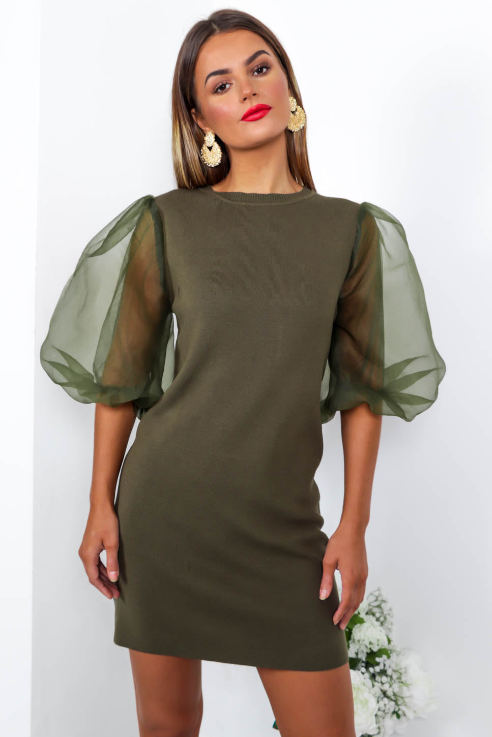 Right Sheer Right Now - Mini Dress In KHAKI