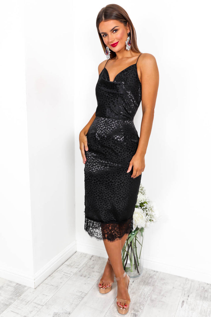 Love Me Or Lace Me - Midi Dress In BLACK