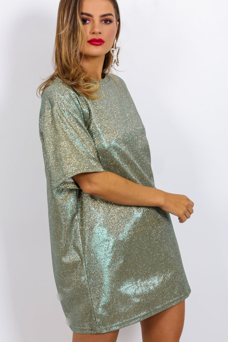 Down To A Tee - T-shirt Dress In GOLD/GREEN