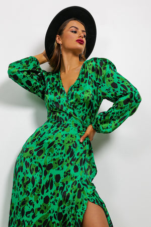 The Claws Are Out - Midi Dress In GREEN/LEOPARD