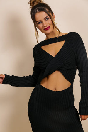 Cut Knit Out - Dress In BLACK