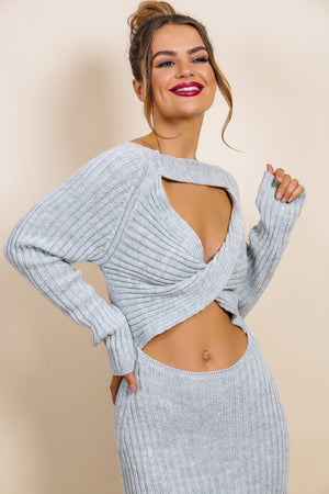 Cut Knit Out - Dress In GREY