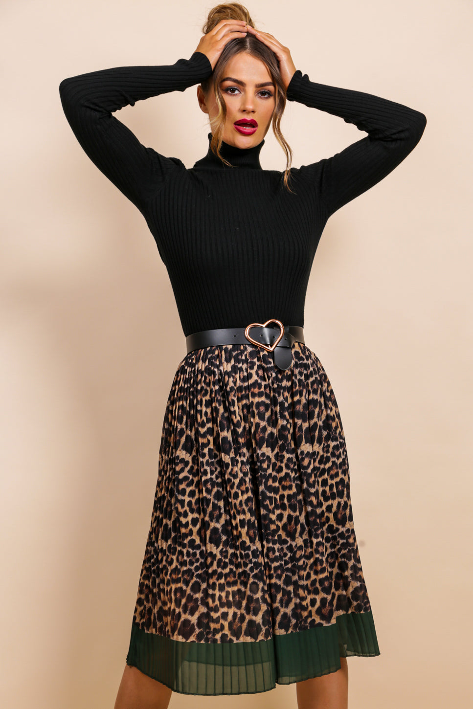 One Day At A Line - Midi Skirt In LEOPARD/GREEN