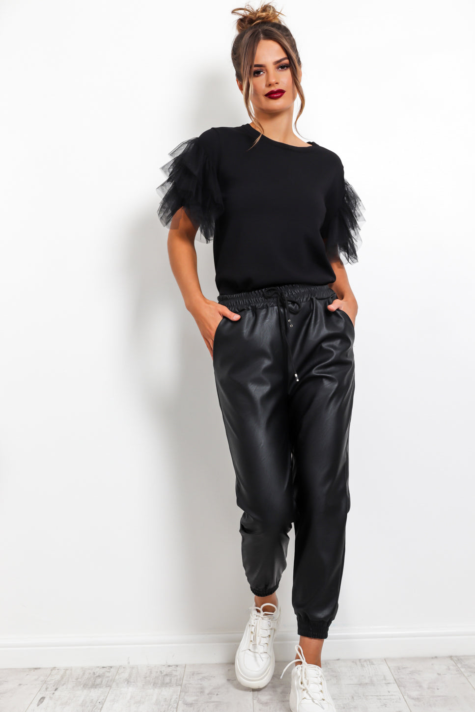 Stick With Me - Leather Pants In BLACK