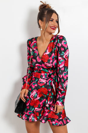Nothing Bud Flowers - Multi Floral Mini Wrap Dress