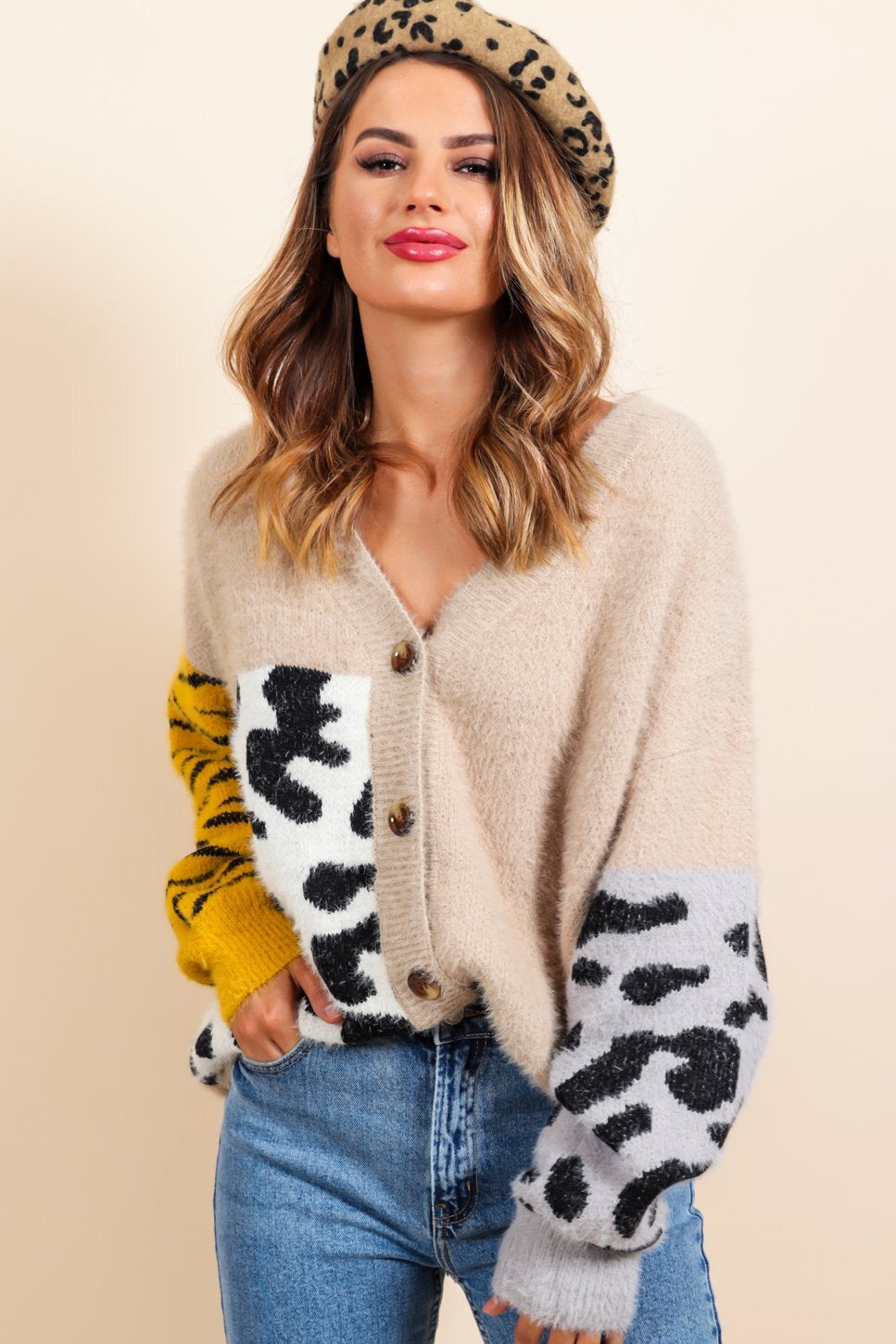 Can't Fight the Feline - Beige Multi Print Cardigan