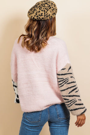 Can't Fight the Feline - Blush Multi Print Cardigan