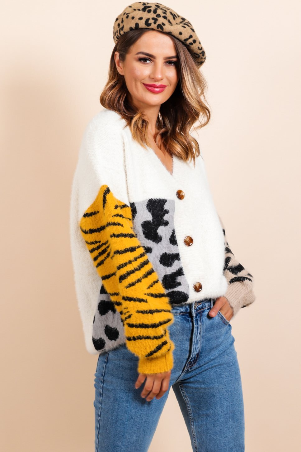 Can't Fight the Feline - Cream Multi Print Cardigan