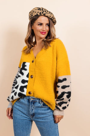 Can't Fight the Feline - Mustard Multi Print Cardigan