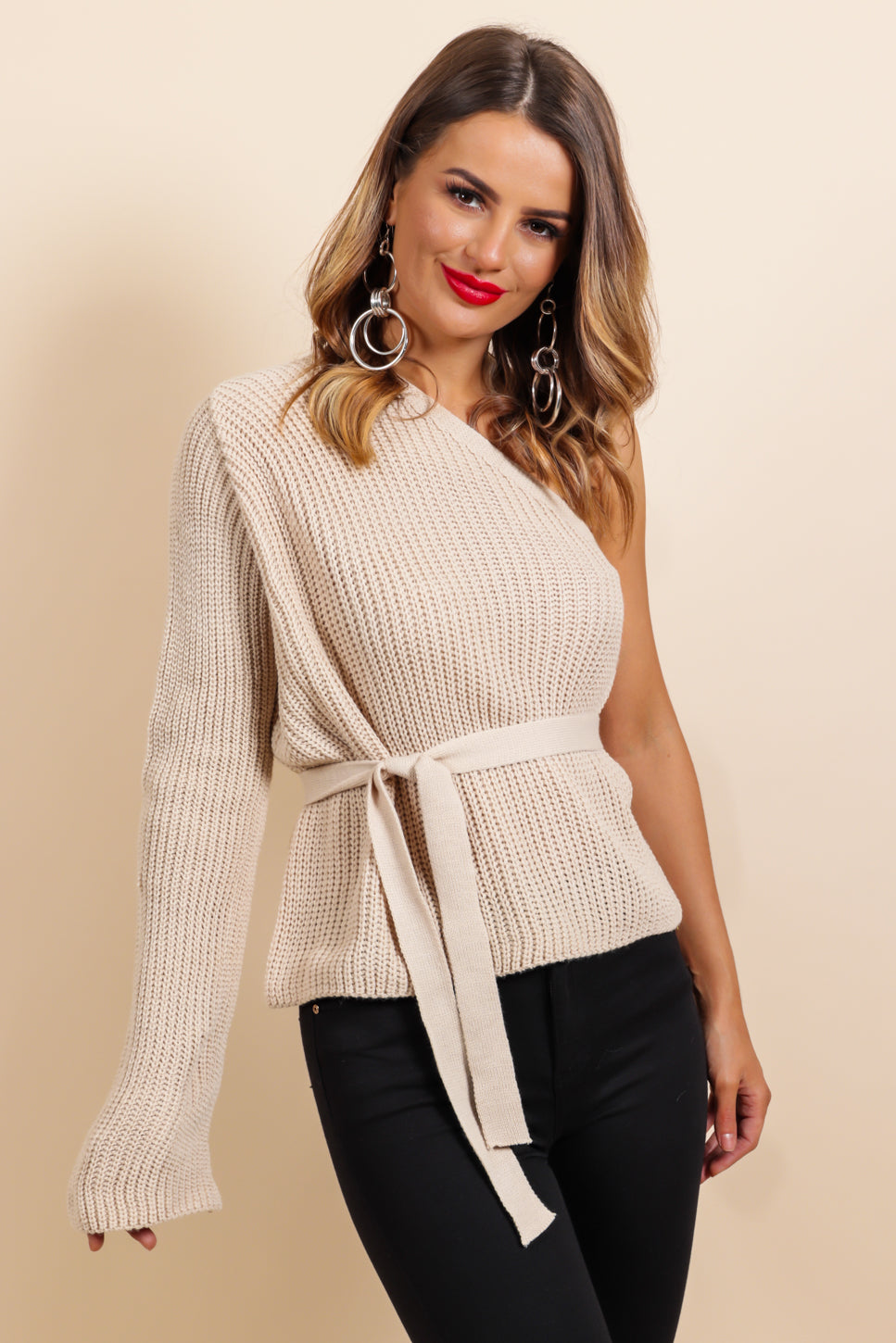 One Shoulders All It Takes - Jumper In OATMEAL