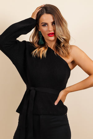 One Shoulders All It Takes - Jumper In BLACK